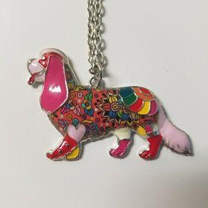 Red Magenta Cavalier Cocker Spaniel Dog Necklace
